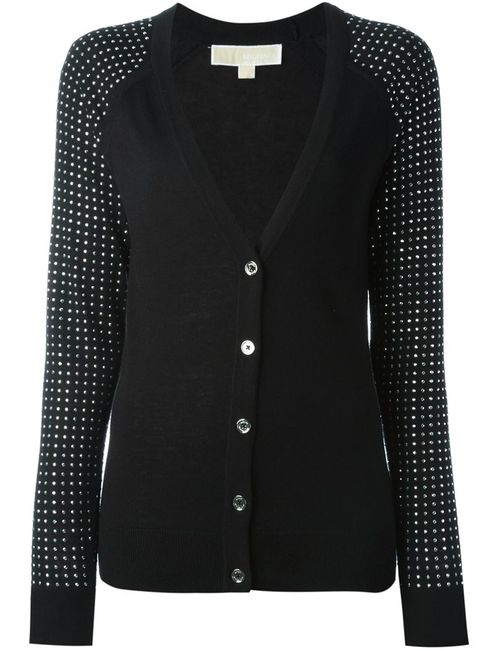 Michael Michael Kors | Женское Черный Embellished Sleeves V-Neck Cardigan