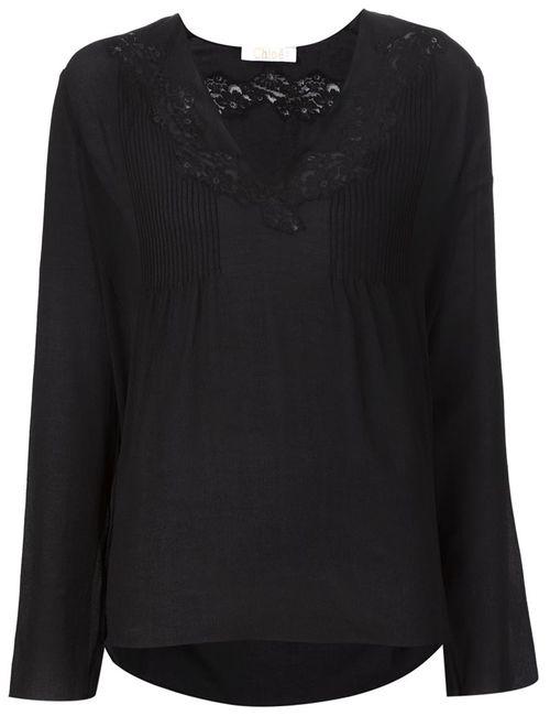 Chloe | Женская Чёрная Блузка С Кружевными Вставками