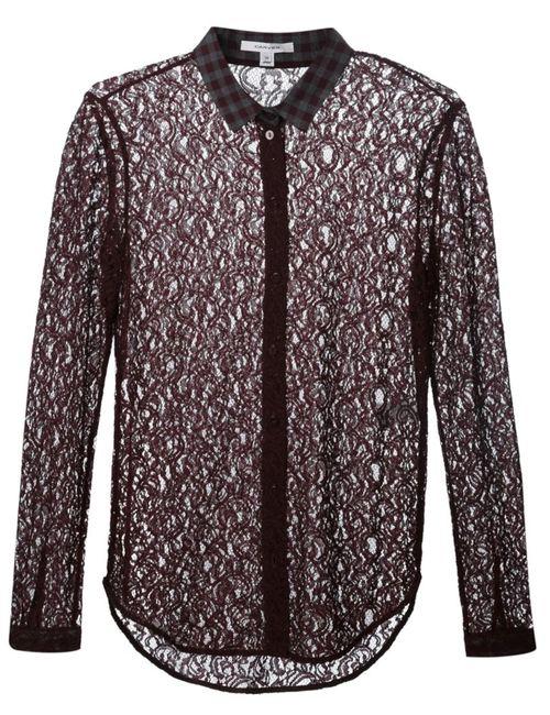 Carven | Женская Коричневая Кружевная Рубашка С Клетчатым Воротником