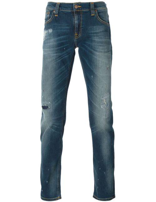 Nudie Jeans Co | Мужские Синие Выбеленные Джинсы С Потертой Отделкой