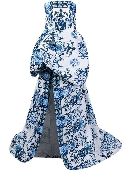 Monique Lhuillier   Женское Синее Вечернее Платье С Пышной Юбкой