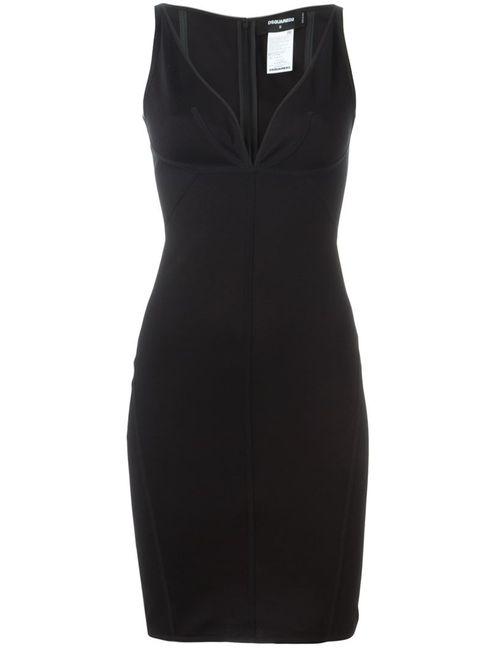 Dsquared2 | Женское Чёрное Платье С Глубоким V-Образным Вырезом