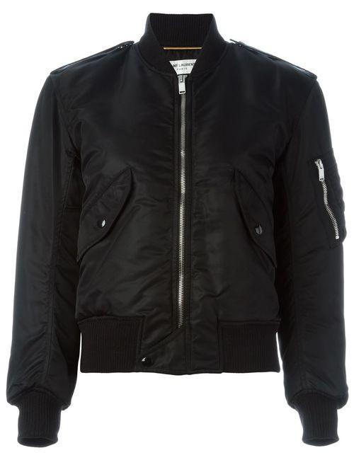 Saint Laurent | Женская Чёрная Укороченная Куртка-Бомбер