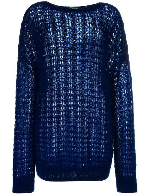 Saint Laurent   Женский Синий Декорированный Трикотажный Свитер