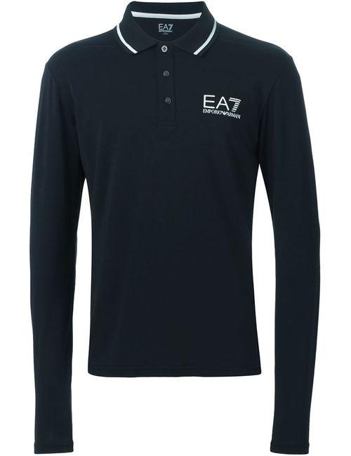 EA7 EMPORIO ARMANI | Мужская Чёрная Рубашка-Поло С Принтом Логотипа