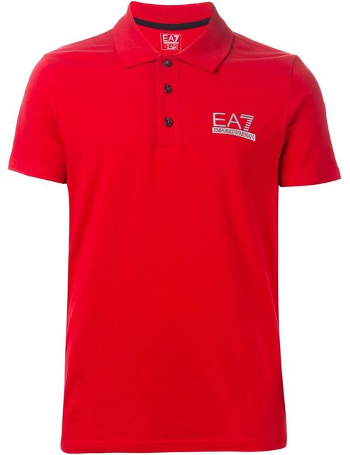 EA7 EMPORIO ARMANI | Мужская Красная Футболка-Поло С Вышивкой Логотипа