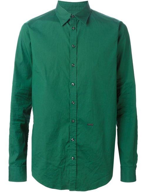 Dsquared2 | Мужская Зелёная Классическая Рубашка