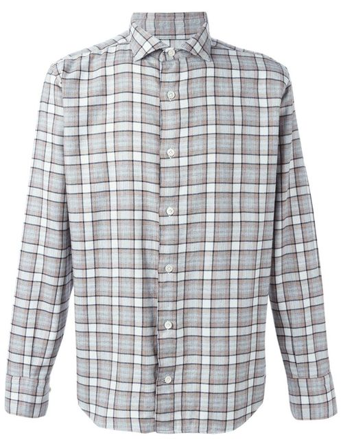 Eleventy | Мужское Nude & Neutrals Checked Shirt