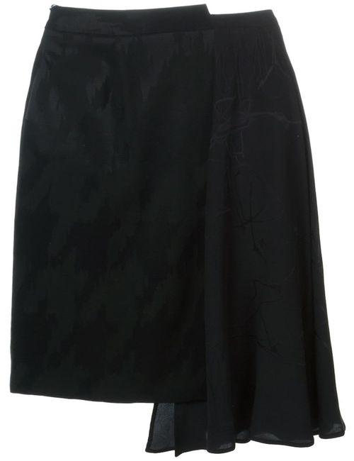 Maison Margiela | Женская Чёрная Драпированная Юбка Асимметричного Кроя