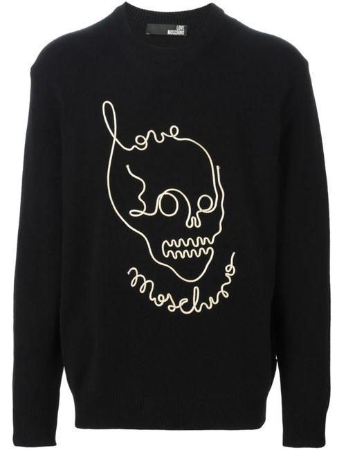 Love Moschino | Мужской Чёрный Свитер С Принтом-Логотипом С Черепом