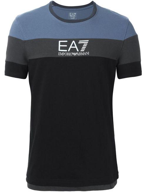 EA7 EMPORIO ARMANI | Мужская Чёрная Футболка Колор-Блок