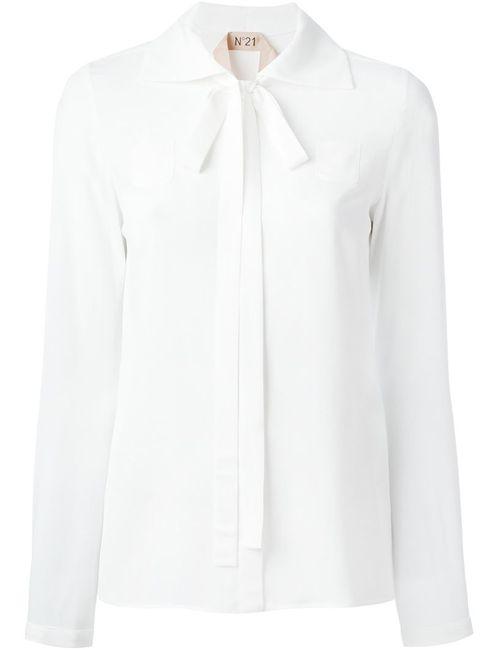 No21 | Женская Белая Блузка С Завязками На Бант