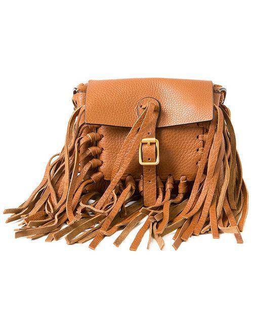 Valentino Garavani   Женское Коричневый Fringed Shoulder Bag