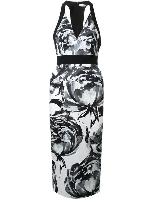 SCANLAN THEODORE | Женское Чёрное Приталенное Платье С Цветочным Принтом