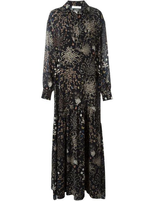 Chloe | Женское Чёрное Длинное Платье С Цветочным Принтом