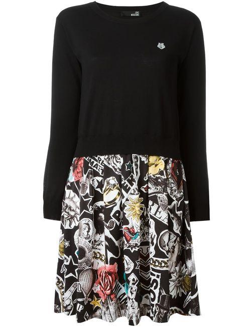 Love Moschino | Женское Черный Платье-Свитер С Принтом На Юбке