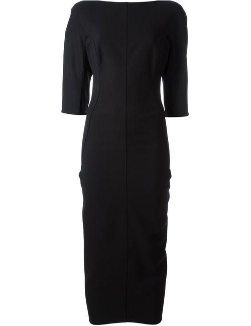 Rick Owens   Женское Чёрное Приталенное Платье С Вырезом-Лодочкой