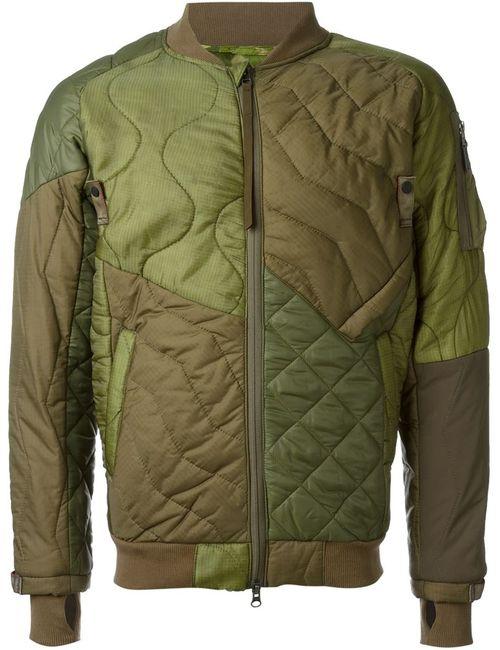 Maharishi   Мужская Зелёная Куртка-Бомбер С Контрастными Панелями