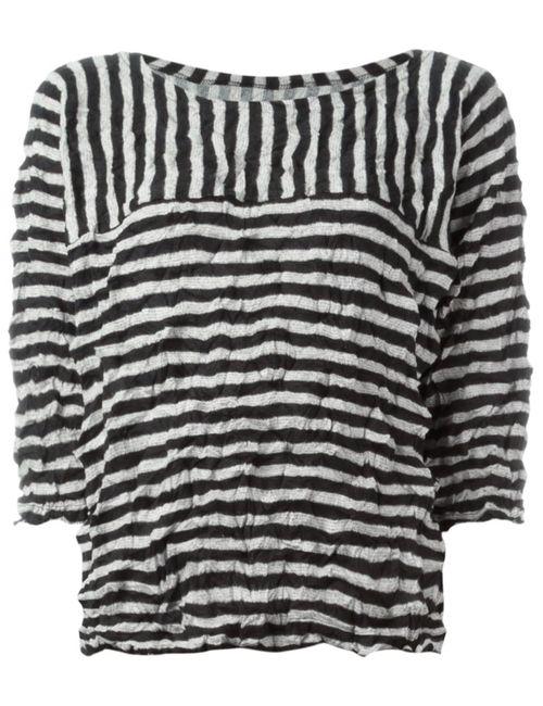 Issey Miyake Cauliflower | Женское Черный Striped Top With Creases