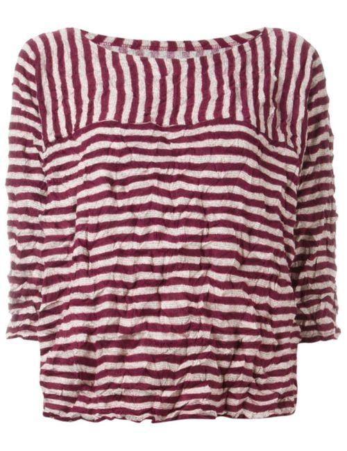Issey Miyake Cauliflower | Женское Красный Striped Top With Creases