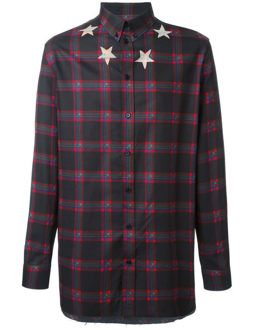 Givenchy   Мужская Чёрная Клетчатая Рубашка Со Звездами