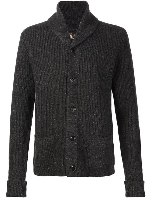 RRL | Мужское Серый Ribbed Shawl Collar Cardigan