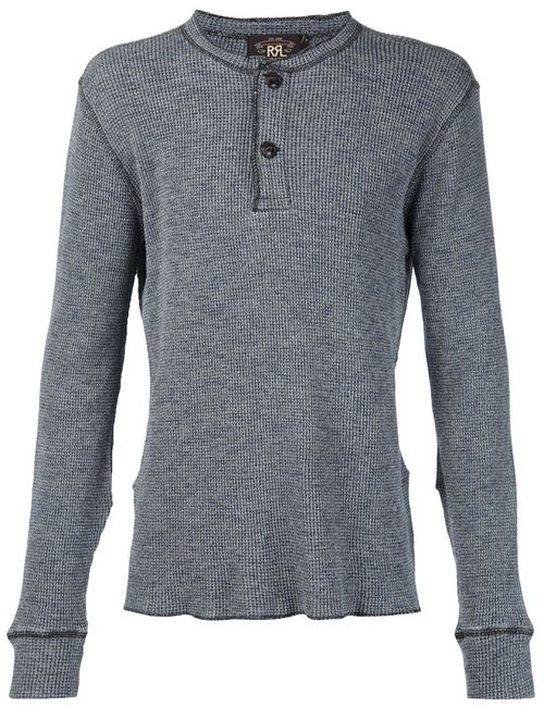 RRL | Мужское Синий Henley Long Sleeve T-Shirt