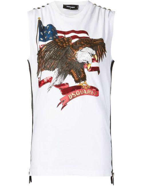 Dsquared2   Женская Белая Футболка С Принтом Американского Флага