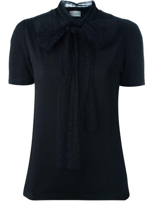 Red Valentino   Женское Чёрный Classic T-Shirt With Polka Dot Sheer Scarf