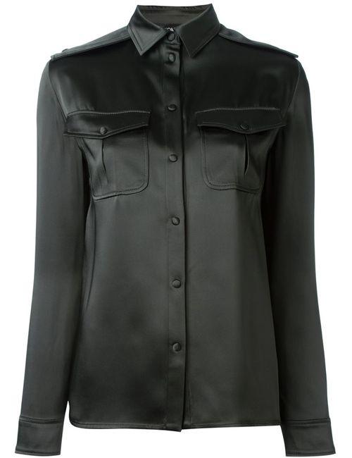 Tom Ford | Женская Зелёная Классическая Атласная Рубашка