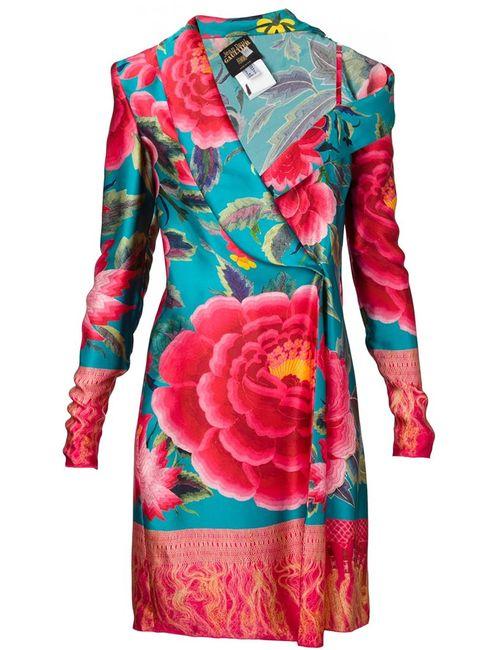 JEAN PAUL GAULTIER VINTAGE | Женское Зелёное Асимметричное Платье С Цветочным Принтом