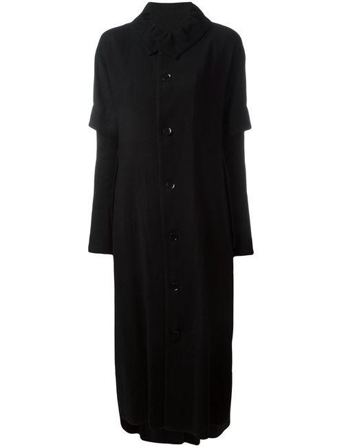 Yohji Yamamoto | Женское Чёрное Однобортное Пальто С Многослойными Рукавами
