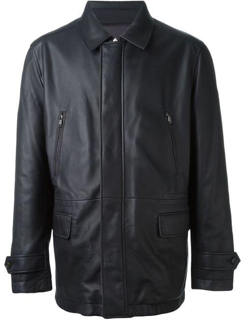 Brioni   Мужская Коричневая Классическая Кожаная Куртка