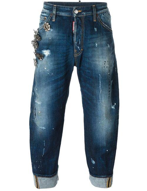 Dsquared2 | Мужские Синие Декорированные Джинсы Bid Deans Brother
