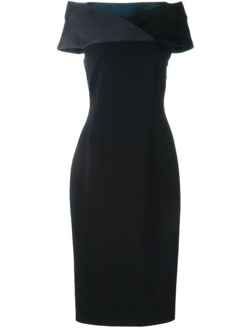 Antonio Berardi | Женское Чёрное Приталенное Платье С Открытыми Плечами