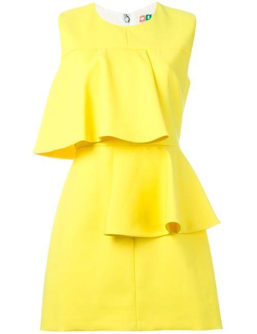 MSGM | Женское Жёлтое Мини-Платье С Волнистыми Панелями