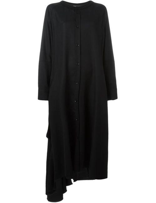 Yohji Yamamoto | Женское Чёрное Свободное Платье-Рубашка С Оборкой