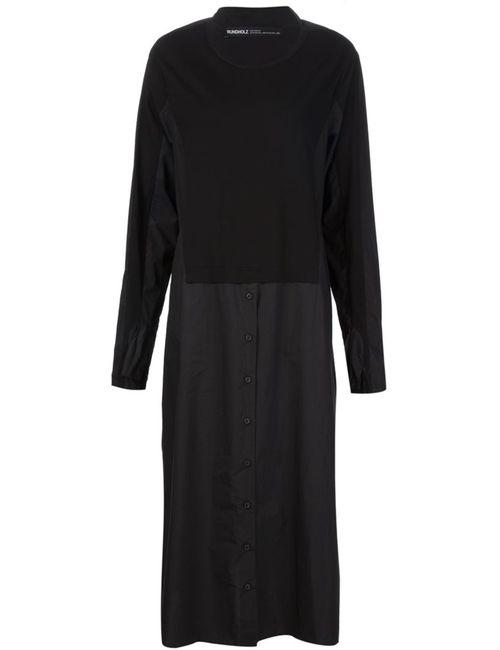 Rundholz | Женское Чёрное Длинное Платье-Рубашка С Панельным Дизайном
