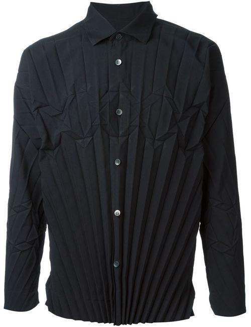Issey Miyake | Мужская Чёрная Плиссированная Рубашка
