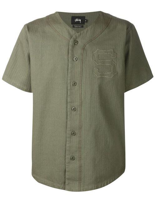 Stussy | Мужская Зелёная Рубашка С Короткими Рукавами