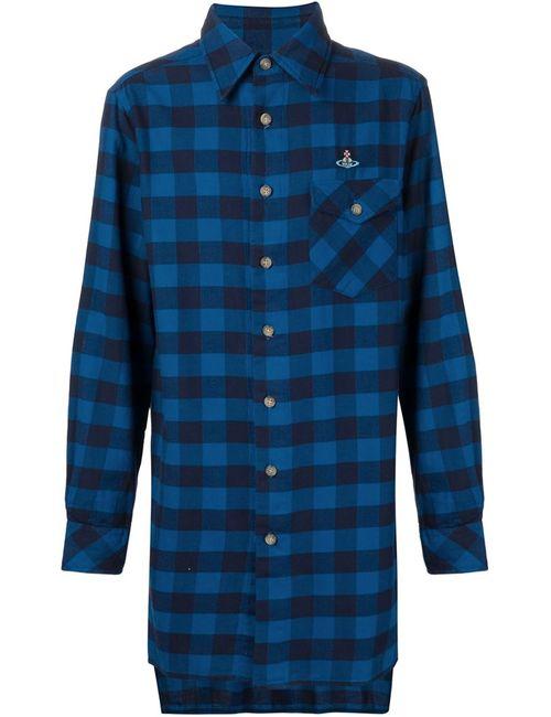 Vivienne Westwood | Мужская Синяя Длинная Фланелевая Рубашка В Клетку