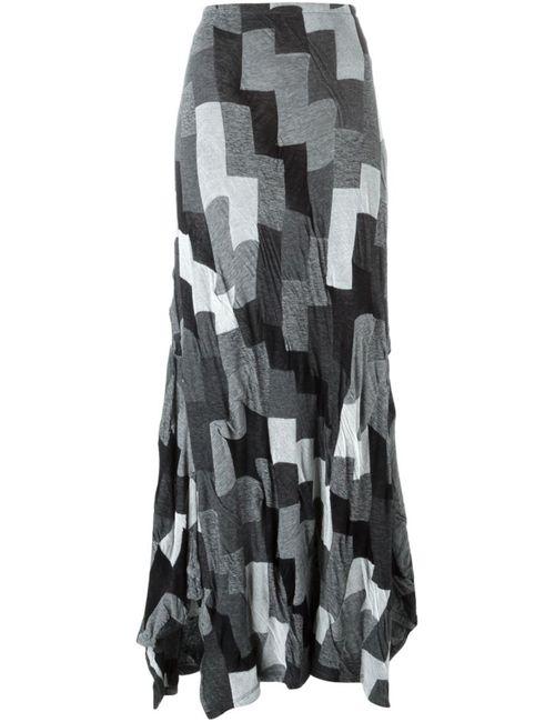 Yohji Yamamoto   Женская Серая Юбка С Панельным Дизайном И Асимметричным Подолом
