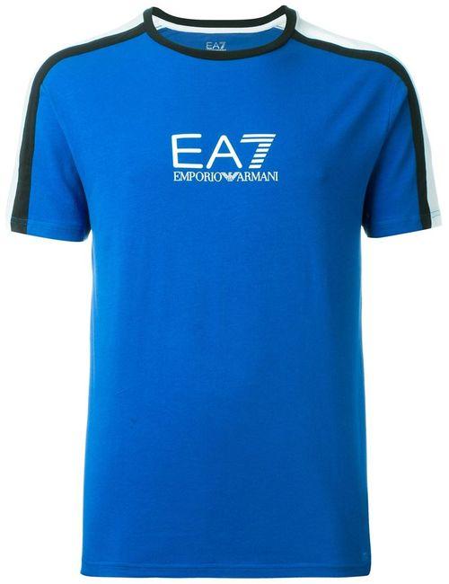Emporio Armani | Мужская Синяя Футболка С Принтом Логотипа