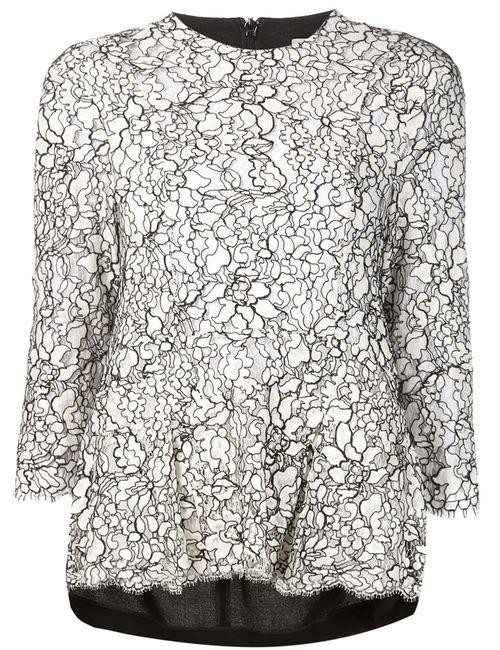 Preen By Thornton Bregazzi   Женская Чёрная Кружевная Блузка С Цветочным Узором