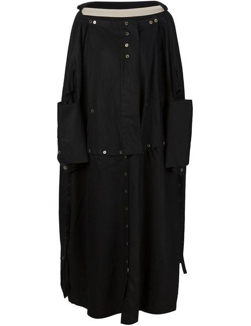 PETRA PTACKOVA | Женское Чёрное Удлиненное Пальто Свободного Кроя