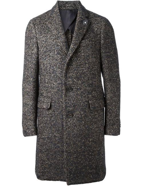 Lardini | Мужское Коричневое Пальто С Узором-Елочкой
