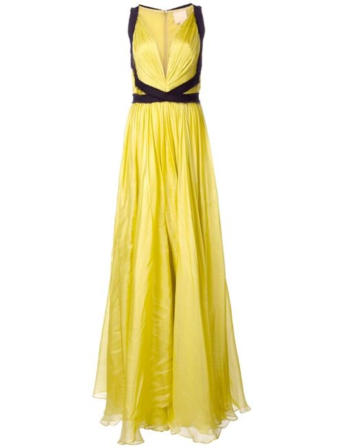 Maria Lucia Hohan   Женское Зелёный Plunge Neck Evening Dress