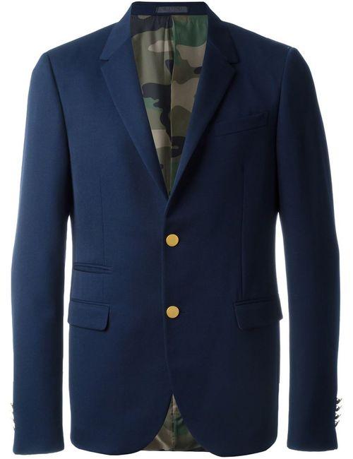 Valentino | Мужской Синий Классический Пиджак С Застежкой На Золотистые Пуговицы