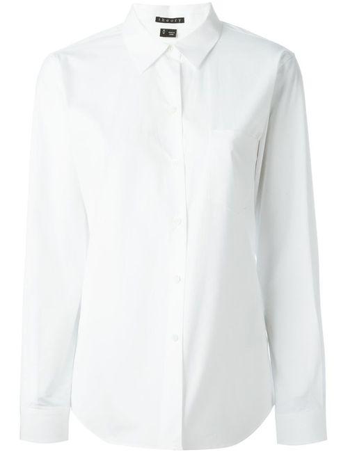 Theory | Женская Белая Рубашка С Нагрудным Карманом