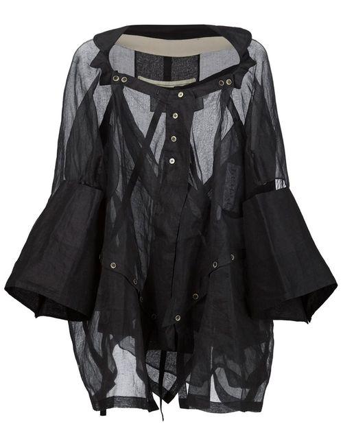 PETRA PTACKOVA | Женская Чёрная Блузка С Панельным Дизайном На Пуговицах